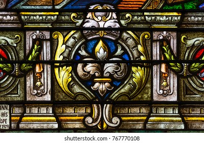 New Orleans, Louisiana - February 6, 2017: Close-up detail from colorful stained glass window in St Louis cathedral.