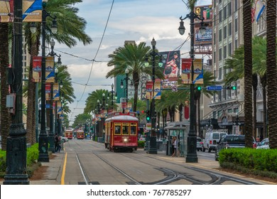 New Orleans, Louisiana - February 6, 2017: Tram pubic transport on Canal street.