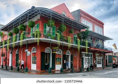 NEW ORLEANS, LOUISIANA - JUL 11: Scene in the French Quarter of New Orleans, Louisiana on July 11, 2012. The area is known for its colonial architecture and revelry.