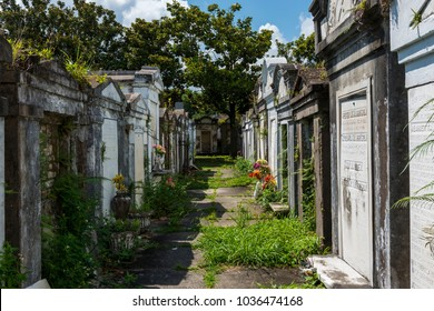 New Orleans, Louisiana - June 18, 2014: Rows of tombs at the Lafayette Cemetery No. 1 in the city of New Orleans, Louisiana, USA