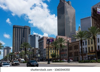 New Orleans, Louisiana - June 18, 2014: Street scene at Canal Street in the downtown of the city of New Orleans, Louisiana, USA