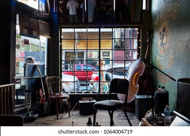 New Orleans, Louisiana - June 20, 2014: An empty stage with musical instruments, at the Spotted Cat Music Club in the city of New Orleans, Louisiana, USA