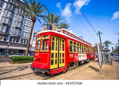 NEW ORLEANS, LOUISIANA - MAY 10, 2016: A streetcar in downtown New Orleans on Canal Street. Streetcars have been an integral part of New Orleans transportation since the early 19th century.