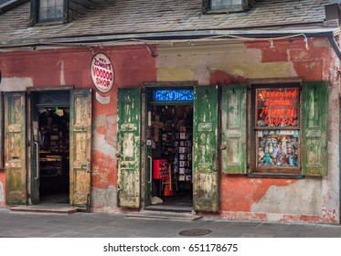 New Orleans, Louisiana - May 23, 2017:  Reverend Zombie's House of Voodoo provides resources for the practice of voodoo and things zombie, in the French Quarter of New Orleans, Louisiana.