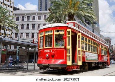 NEW ORLEANS, LOUISIANA, May 5, 2015 : Streetcars in New Orleans, Louisiana have been an integral part of the city's public transportation network since the first half of the 19th century.
