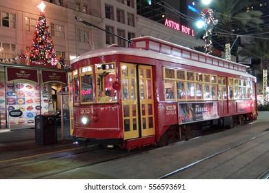 New Orleans, Louisiana - November 22, 2016: Streetcar during the Holiday Season in New Orleans, Louisiana.