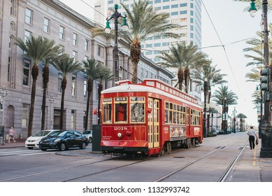 New Orleans, Louisiana / United States - June 26-2018: Streetcar in downtown New Orleans on Canal Street.
