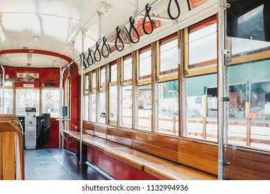 New Orleans, Louisiana / United States - June 26-2018: Streetcar isolated inside.