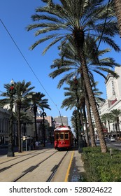 New Orleans, Louisiana, USA - 23 November 2016: New Orleans Streetcars travelling on Canal Street