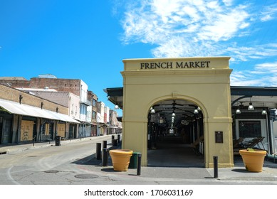 New Orleans, Louisiana / USA - April 15, 2020: Empty streets in the French Quarter due to the Stay at Home mandate due to COVID-19 in new Orleans, Louisiana.