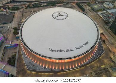 NEW ORLEANS, LOUISIANA, USA - AUGUST 1, 2018: Drone shot of the Mercedes Benz Superdome New Orleans