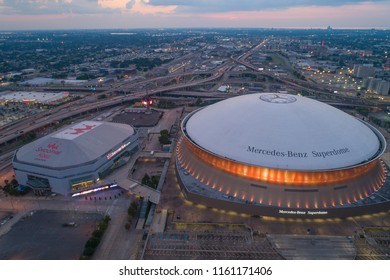 NEW ORLEANS, LOUISIANA, USA - AUGUST 1, 2018: Aerial drone photo twilight image Mercedes Benz Superdome Downtown New Orleans Louisiana USA
