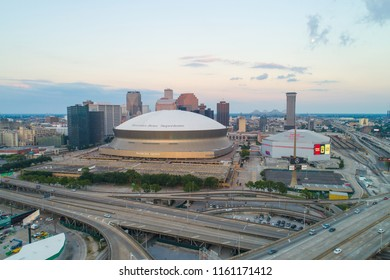 NEW ORLEANS, LOUISIANA, USA - AUGUST 1, 2018: Aerial drone image of Downtown New Orleans and the Mercedes Benz Superdome
