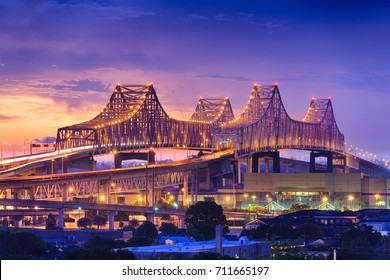 New Orleans, Louisiana, USA at Crescent City Connection Bridge.