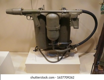 New Orleans, Louisiana, U.S.A. - February 5, 2020 - M2 Flamethrower that was used during World War 2