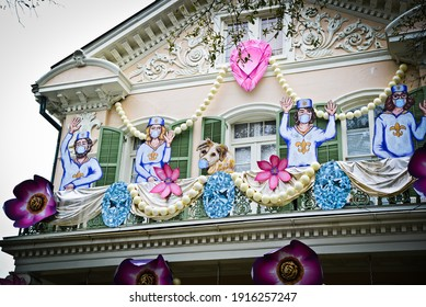 New Orleans, Louisiana  USA –  February 13, 2021: Krewe of House Floats Queen Jubilee decorations in New Orleans, Louisiana. Mardi Gras parades cancelled due to COVID-19.