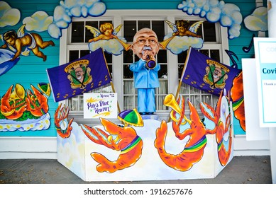 New Orleans, Louisiana  USA –  February 13, 2021: Krewe of House Floats Peter Fountain decorations at Commanders Palace in New Orleans, Louisiana. Mardi Gras parades cancelled due to COVID-19.