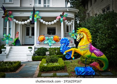 New Orleans, Louisiana  USA –  February 13, 2021: Krewe of House Floats  nautical decorations at in New Orleans, Louisiana. Mardi Gras parades cancelled due to COVID-19.
