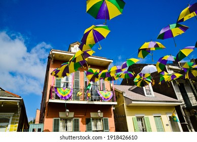 """New Orleans, Louisiana USA – February 16, 2021: """"Krewe of House Floats umbrella decorations in New Orleans, Louisiana. Mardi Gras parades cancelled due to COVID-19."""""""