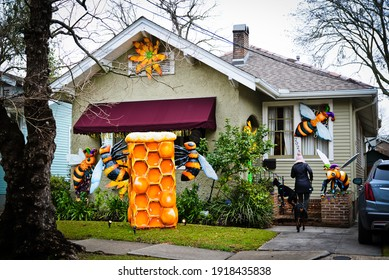 New Orleans, Louisiana  USA –  February 15, 2021: Krewe of House Floats Mardi Gras decorations in New Orleans, Louisiana. Mardi Gras parades were cancelled due to COVID-19.