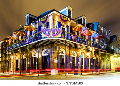 NEW ORLEANS, LOUISIANA USA- JAN 23 2016: Pubs and Bars having colorful lights and decorations in the French Quarter. Tourism provides a much needed financial source,  also home for great musicians.