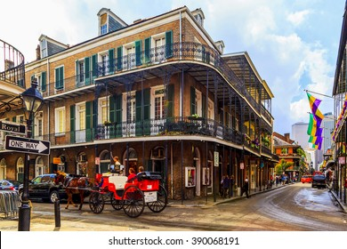 NEW ORLEANS, LOUISIANA USA - JAN 22 2016: Historic building in the French Quarter in New Orleans, USA. Tourism provides a large source of revenue after the 2005 devastation of Hurricane Katrina.
