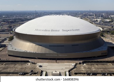 New Orleans, Louisiana, USA - October 9, 2013: Aerial view Superdome is home to NFL's New Orleans Saints American football on October 9, 2013 in New Orleans, Louisiana