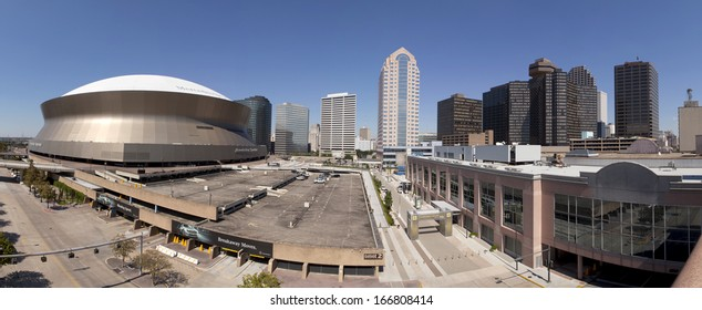 New Orleans, Louisiana, USA - October 9, 2013:Panoramic view of downtown New Orleans and the Mercedes-Benz Superdome on October 9, 2013 in New Orleans, Louisiana, USA