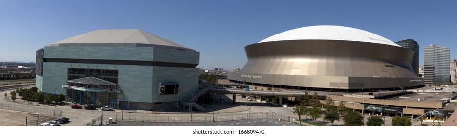 New Orleans, Louisiana, USA - October 9, 2013:New Orleans Sports and Entertainment Complex (panoramic) with the New Orleans Arena and the Superdome on October 9, 2013 in New Orleans, Louisiana