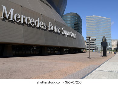 "New Orleans, Louisiana, USA - October 29, 2014: On a sunny autumn day, the silver inscription ""Mercedes-Benz Superdome"" shines on the side of the New Orleans Saints' home stadium."