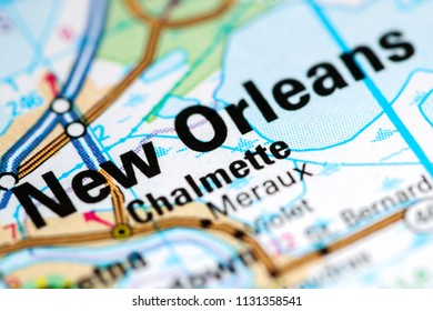 New Orleans. Louisiana. USA on a map