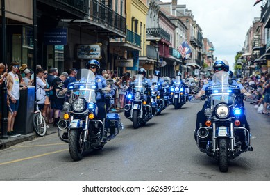 New Orleans, Louisiana / USA - September 1, 2019: The New Orleans police department lead the Decadence parade in the French Quarter of New Orleans, Louisiana.