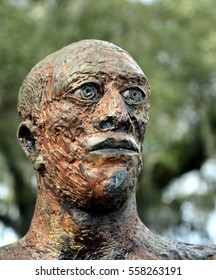 NEW ORLEANS, LOUISIANA-JANUARY 13:  A statue of a bald human male head, on display in the Art and Sculpture Garden in New Orleans City Park on January 13, 2017.