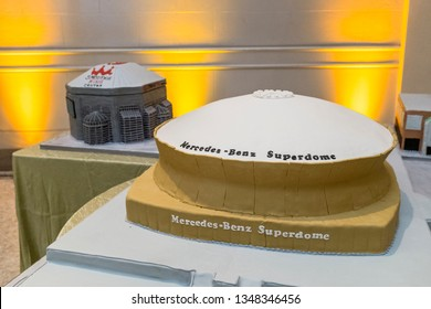 New Orleans, Louisiana/USA - August 12, 2017: Birthday Cakes for Tom Benso, owner of the New Orleans Saints, at his 90th Birthday Party