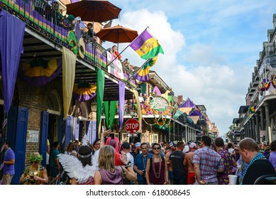 New Orleans, Louisiana/USA - February 28, 2017:  The French Quarter on Mardi Gras day in New Orleans, Louisiana.