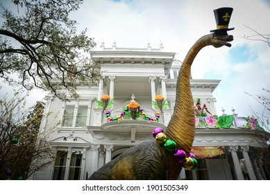 New Orleans, LouisianaUSA - January 24, 2021: Krewe of House Floats dinosaur decorations on St. Charles Avenue in New Orleans. The COVID 19 pandemic caused all Mardi Gras parades to be cancelled.