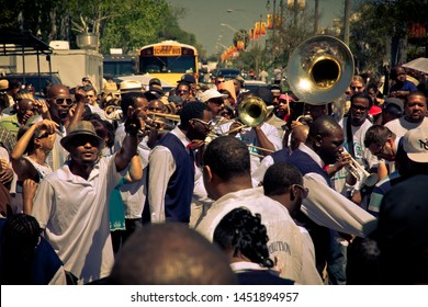 New Orleans, Louisiana/USA - March 25, 2012 - Second line parade bus band party african americans