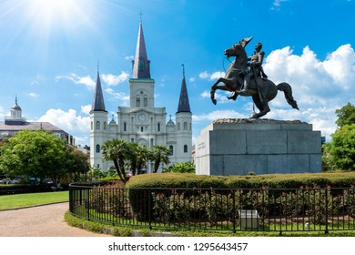 NEW ORLEANS, LOUISIANA/USA -  SEPTEMBER 01 2016: Statue of horse on a sunny day in front of Saint Louis Cathedral in Jackson Square, New Orleans, Louisiana.