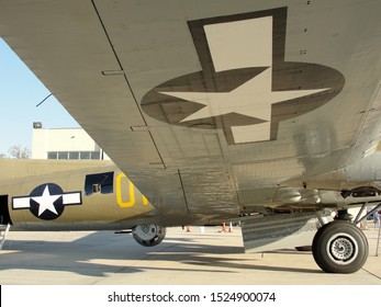 """New Orleans - March 25, 2010: Starboard Wing of the World War II era Flying Fortress B-17 bomber """"Nine-O-Nine"""" prior to its deadly crash"""