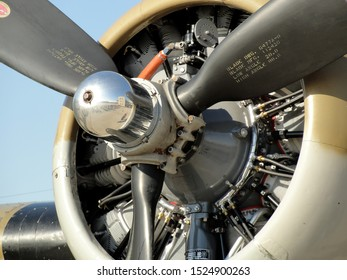 """New Orleans - March 25, 2010: Close up of engine on the World War II era Flying Fortress B-17 bomber """"Nine-O-Nine"""" prior to its deadly crash"""