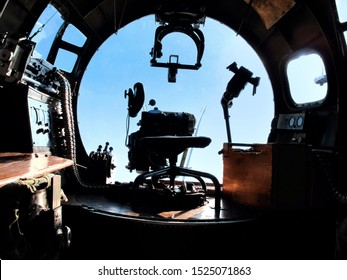 """New Orleans - March 25, 2010: Plexiglass Bombardier's position inside nose cone of World War II era Flying Fortress B-17 bomber """"Nine-o-Nine"""" prior to its deadly crash"""