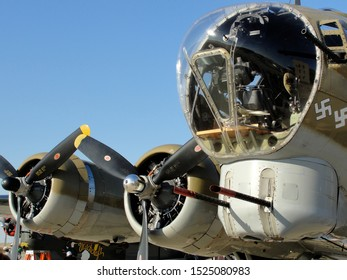 """New Orleans - March 25, 2010: Plexiglass nose cone and engines of World War II era Flying Fortress B-17 bomber """"Nine-O-Nine"""" prior to its deadly crash"""