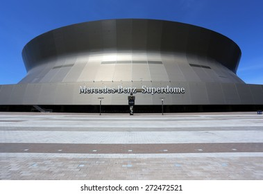 NEW ORLEANS - MARCH 28: The Mercedes-Benz Superdome in downtown New Orleans, Louisiana on March 28, 2015. The enclosed multipurpose arena is home to the New Orleans Saints of the NFL.