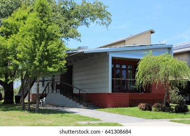 NEW ORLEANS - MAY 2017: Make It Right House in New Orleans, LA in May 2017. Post-Katrina eco-friendly replacement house in Lower Ninth Ward built by Make It Right Foundation established by Brad Pitt.