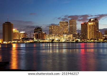 NEW ORLEANS - MAY 6: Central Business District and French Quarter skyline as seen from Algiers Point in New Orleans on May 6, 2014.