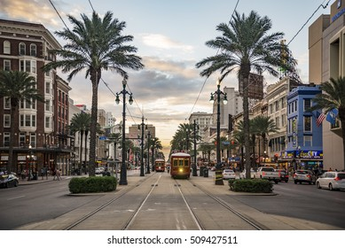 NEW ORLEANS - OCTOBER 18, 2016: view of the famous Canal Street on October 10, 2016 in New Orleans, LA
