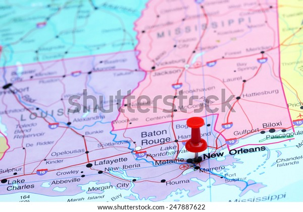 map usa new orleans New Orleans Pinned On Map Usa Stock Photo Edit Now 247887622 map usa new orleans