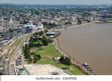 New Orleans riverfront toward the French Quarter, as seen from the World Trade Center