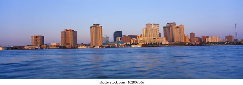 New Orleans Skyline From Algiers Point, Sunrise, Louisiana