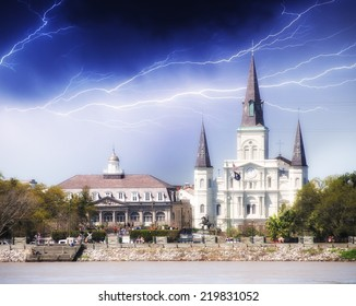 New Orleans. St Louis Cathedral with stormy weather.